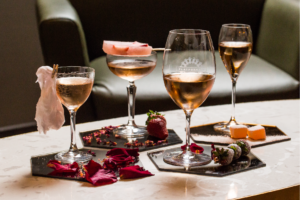 Glasses of Rosé wines with other desserts