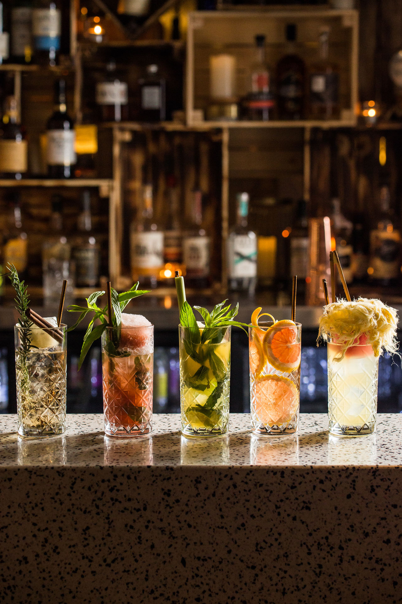 Signature highball cocktails in bar area