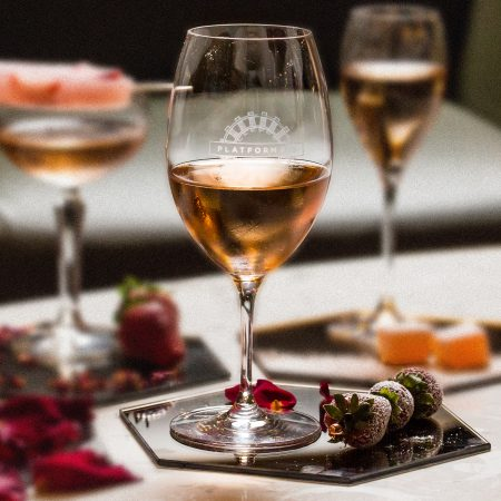 Innocent Bystander Rosé paired with Tipsy Strawberries