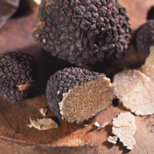 Black truffle on Wooden Board